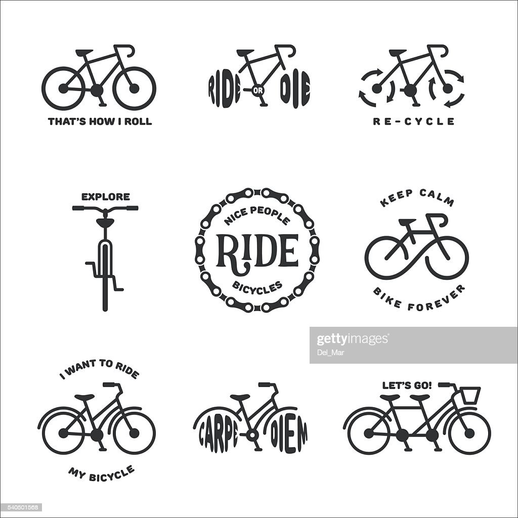 Bicycle related typography set. Vector vintage illustration.