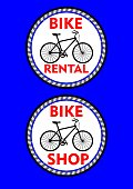 Bicycle rental, bicycle shop, two circle colored label or signboard. Black bike silhouette and headline in red design
