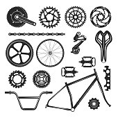Bicycle repair parts set, vehicle element icon