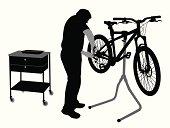 Bicycle Repair Vector Silhouette