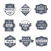 Bicycle Repair - vintage vector set of symbols