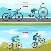 Bicycle riding banner professional cycling active lifestyle