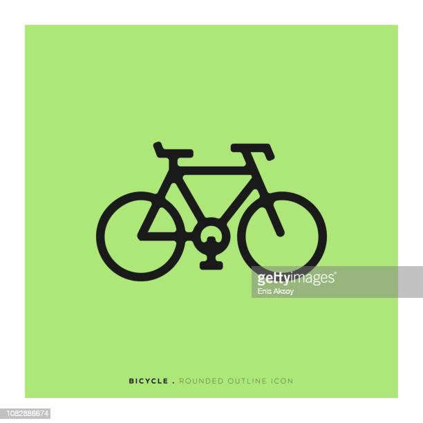 bicycle rounded line icon - wheel stock illustrations, clip art, cartoons, & icons