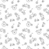 Bicycle seamless pattern in doodle style. Similar to wrapping paper.