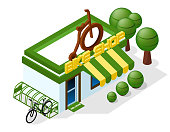 bicycle shop, bicycle parking. isometric 3d