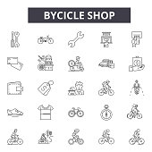 Bicycle shop line icons for web and mobile design. Editable stroke signs. Bicycle shop  outline concept illustrations