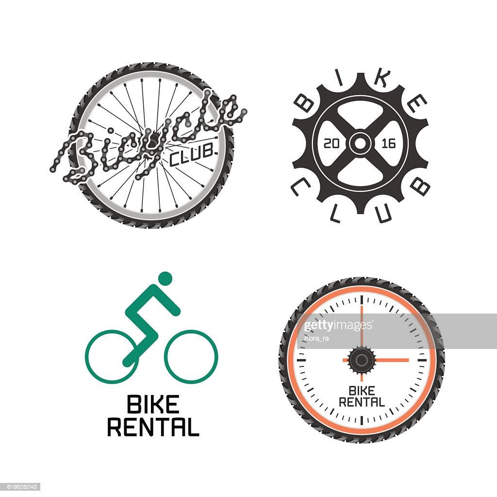 Bicycle shop, rent a bike, bicycle repair set of vectoricon