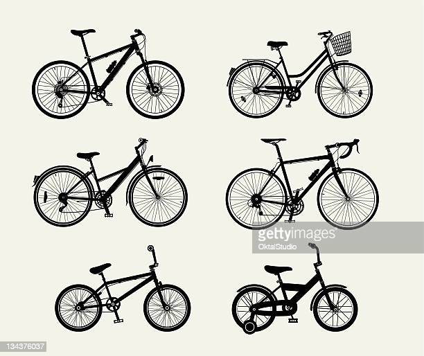 bicycle silhouettes - racing bicycle stock illustrations