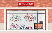 Bicycle stores exterior or bike shops interior.