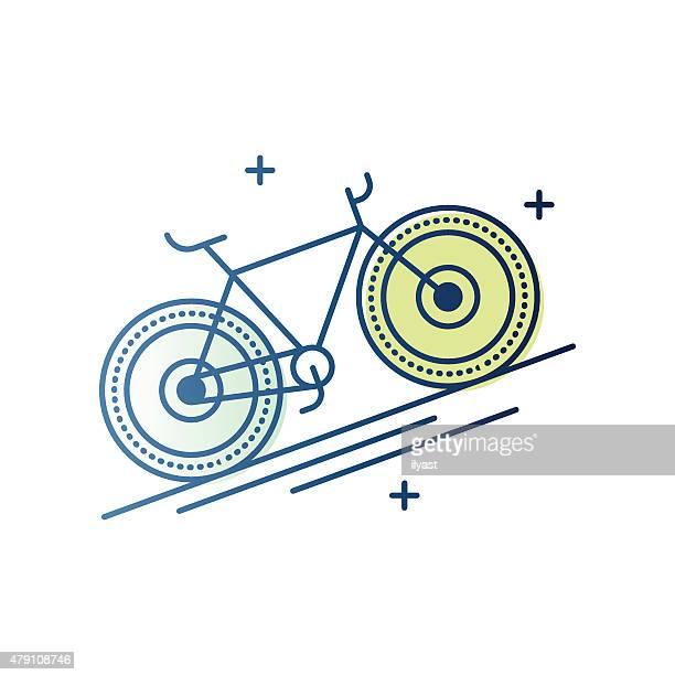 ilustrações, clipart, desenhos animados e ícones de símbolo de bicicleta - roda