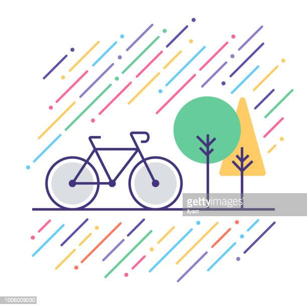 bicycle touring line icon - bicycle stock illustrations