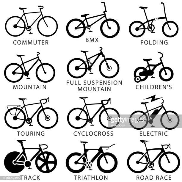 bicycle types icon set - road marking stock illustrations