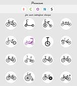 bicycle types icon set