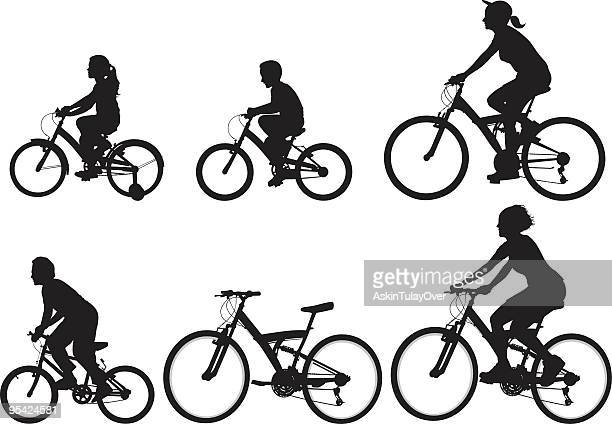 bicycle - family cycling stock illustrations, clip art, cartoons, & icons