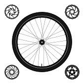 Bicycle Wheel Silhouette plus 4 Disc Brake Rotors of Different Shapes