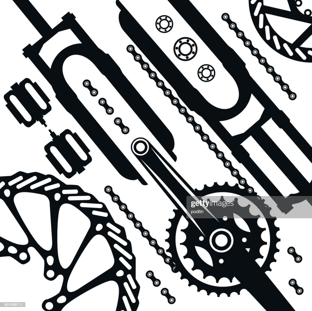 Bicycles A Set Of Bicycle Parts Vector Stock Vector Getty Images