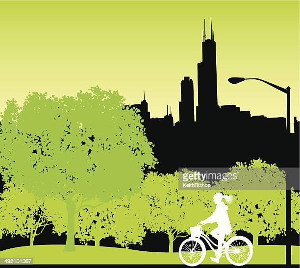 bicyclist in city park background - chicago loop stock illustrations, clip art, cartoons, & icons