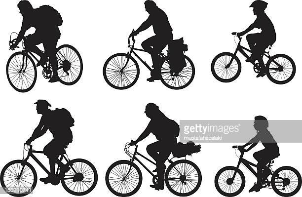 bicyclist silhouettes - family cycling stock illustrations, clip art, cartoons, & icons