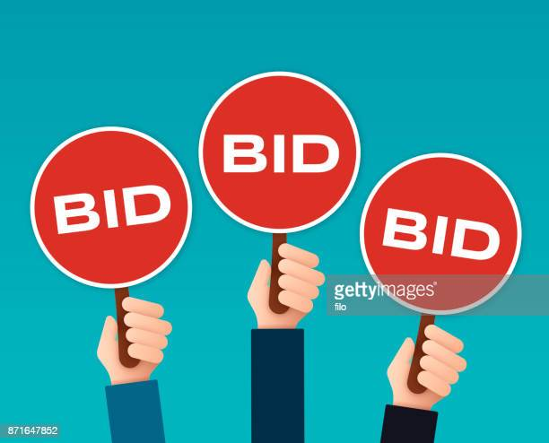 bidder auction paddles - bid stock illustrations