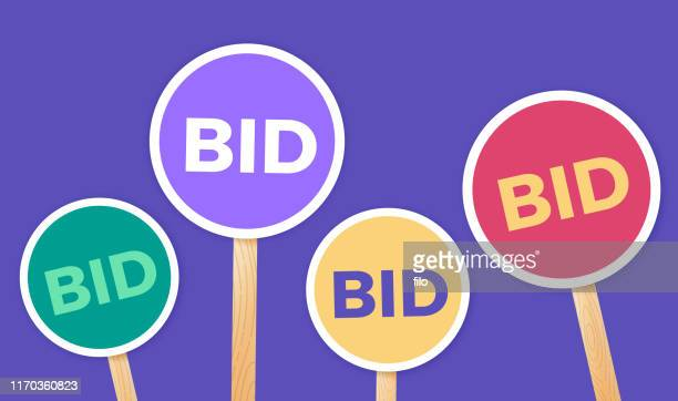 bidding auction signs - bid stock illustrations
