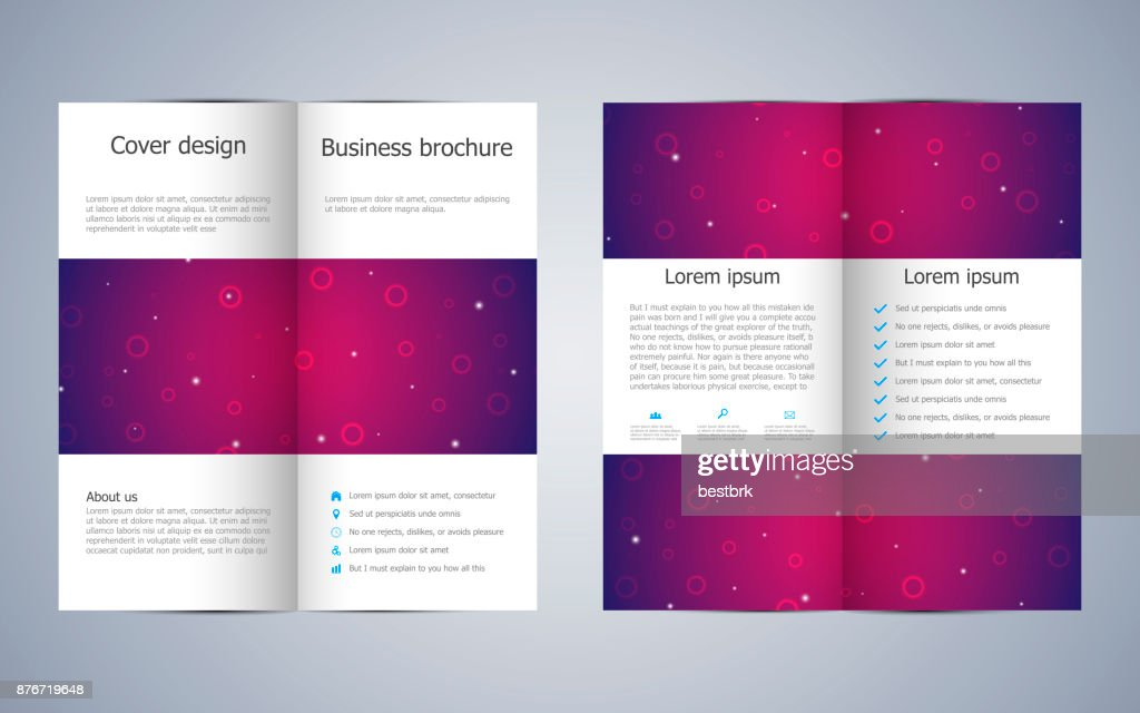 Bifold Business Brochure Template With Molecular Structure