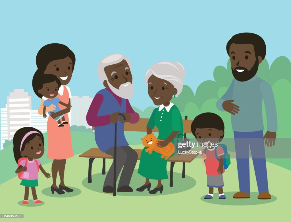 Big African family characters with mother father grandmother grandfather kids