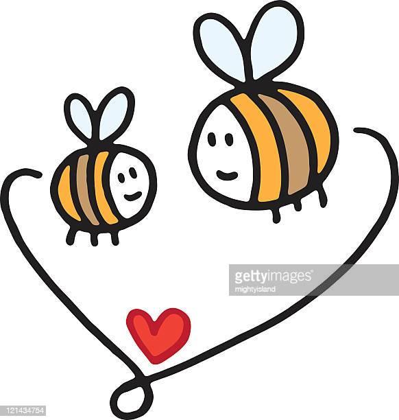 bildbanksillustrationer, clip art samt tecknat material och ikoner med big and small bees - bumblebee