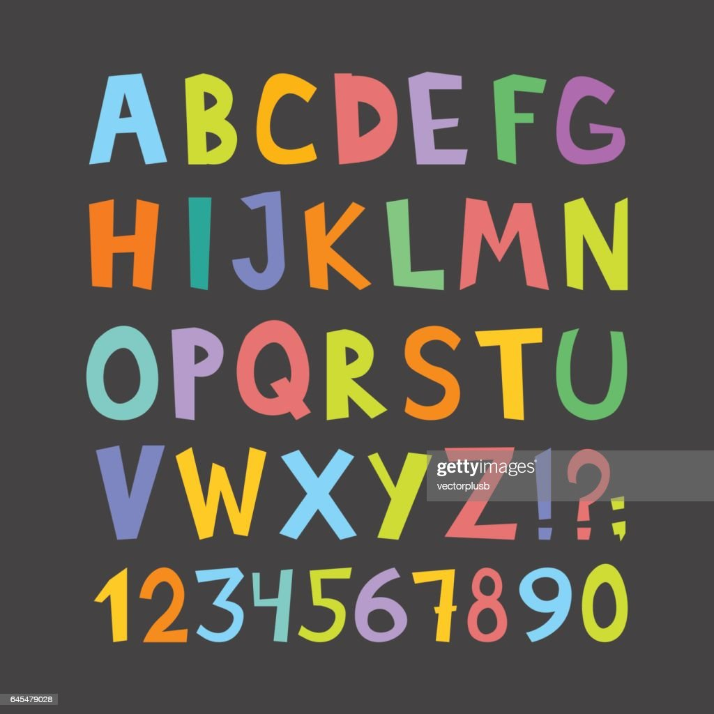 Big and small colorful letters of the ABC, numerals vector illustration.