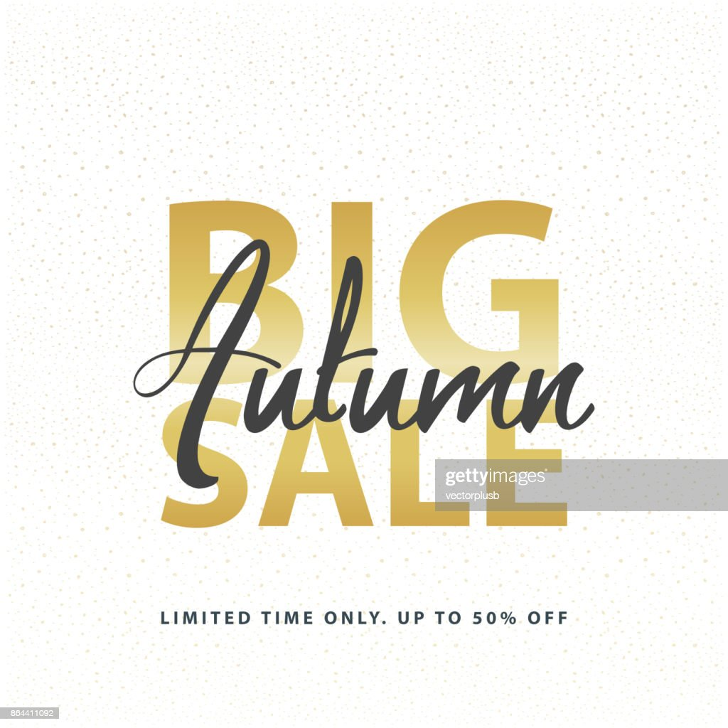 Big Autumn Sale gold sign in white golden glitter background. Vector web banner template illustration