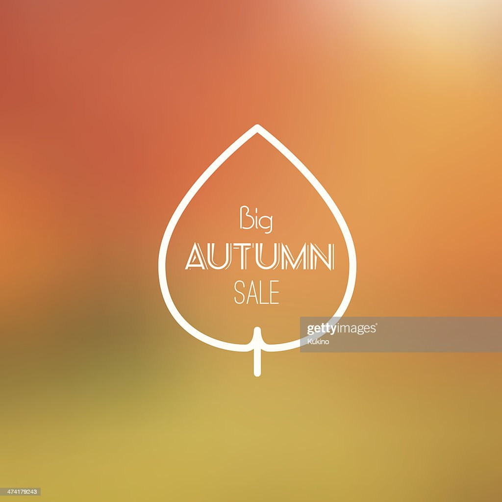 Big Autumn Sale Vector Retro Poster witn Blurred Background