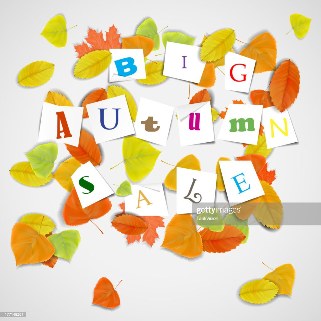 Big autumn sale with colorful leaves