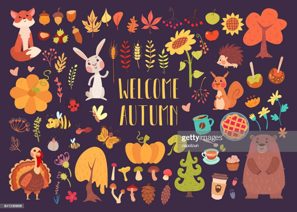 Big autumn set of cartoon characters