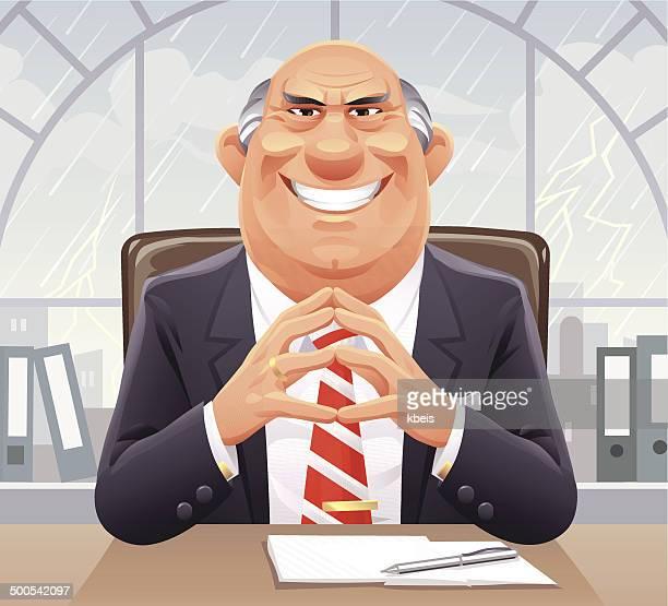 big bad boss - aggression stock illustrations
