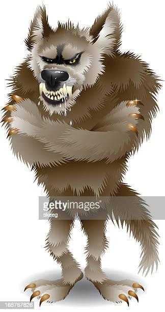 big bad wolf - animal saliva stock illustrations, clip art, cartoons, & icons