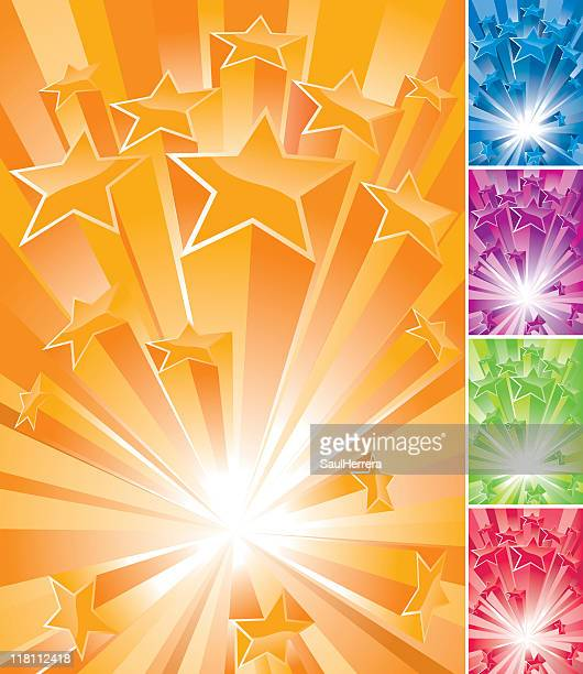 big bang stars - blast banner set - great exhibition stock illustrations, clip art, cartoons, & icons