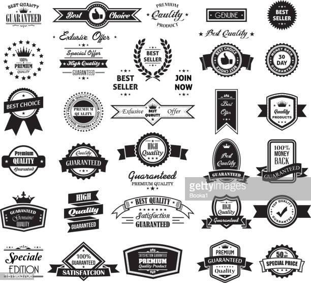 stockillustraties, clipart, cartoons en iconen met big banner and label collection - insigne
