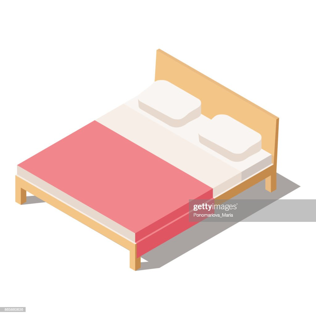 Big Bed for Two or One Person in isometric