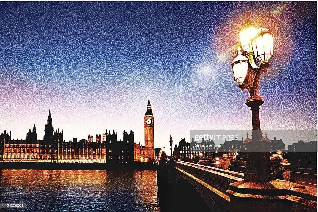 Big Ben And Westminster Bridge : Vector Art