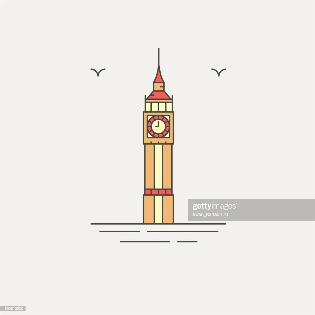 Big ben london english landmark icon vector illustration