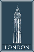 Big Ben sketch on a dark blue BG