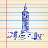 Big Ben tower, London drawing on Lined paper