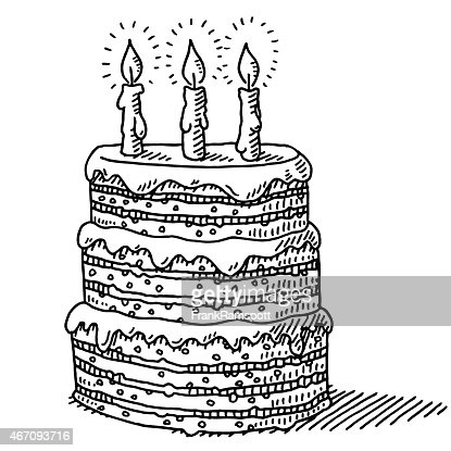 Remarkable Big Birthday Cake With Three Candles On Top Drawing High Res Personalised Birthday Cards Vishlily Jamesorg