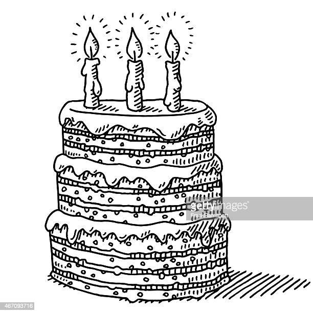 big birthday cake with three candles on top drawing - candle stock illustrations, clip art, cartoons, & icons