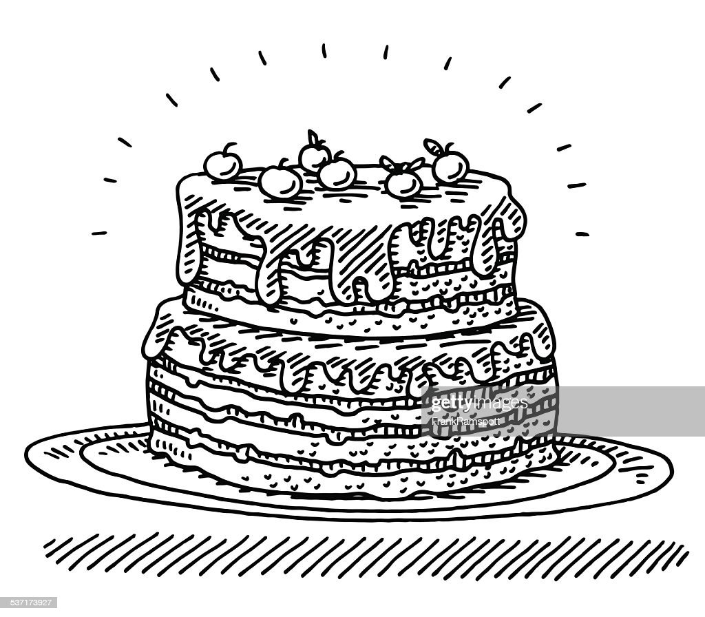 big birthday cherry cake drawing vector art getty images