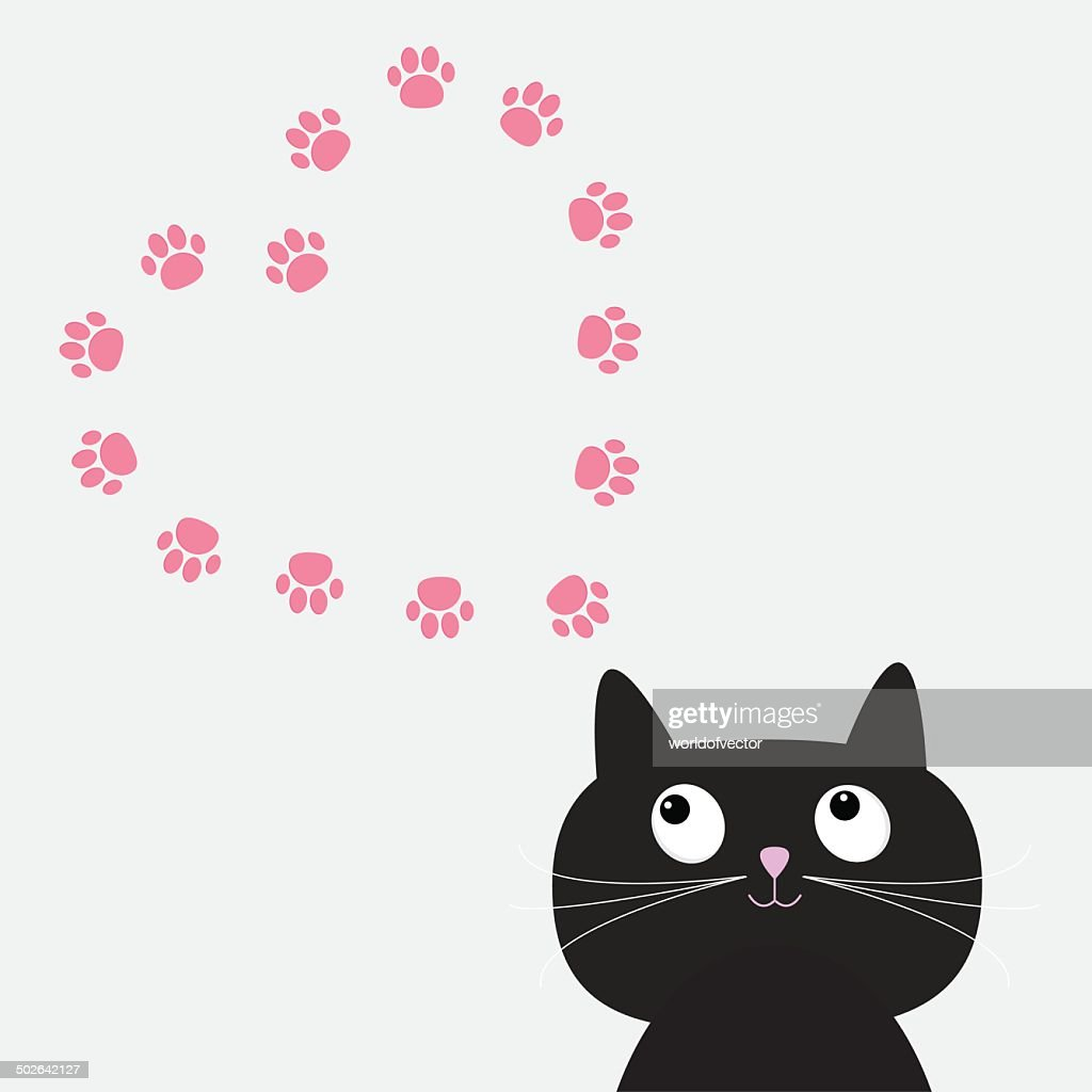 Big black cat and paw print heart frame template. Flat