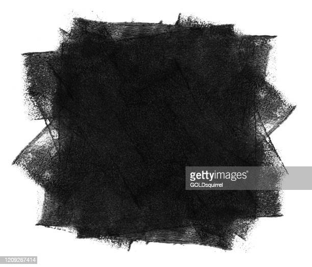 big black square isolated in the middle of white paper background with irregular uneven unfinished edges hand painted by paint roller and thick black acrylic paint - abstract vector illustration - irregular texturizado stock illustrations