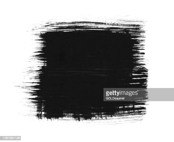big black square isolated in the middle of white paper background with irregular uneven unfinished edges hand painted by brush and thick black acrylic paint - abstract vector illustration with vertical and horizontal lines - stock illustration - irregular texturizado stock illustrations