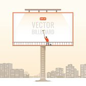 Big blank billboard in the city, vector illustration.