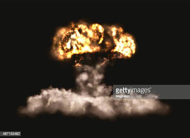 big bomb explosion - radioactive contamination stock illustrations