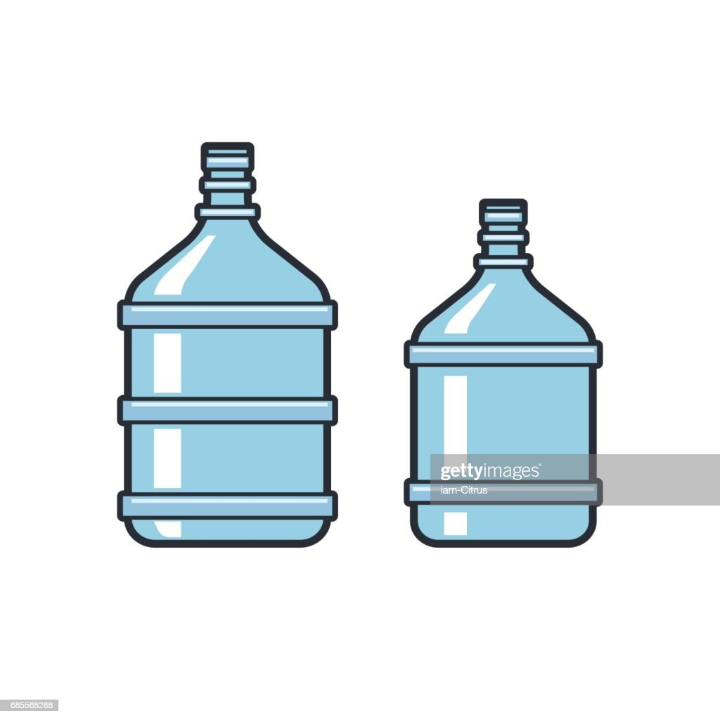 Big bottles with clean water. Flat icons. Plastic container